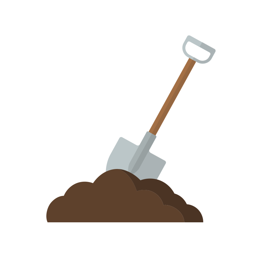 A pile of soil with a shovel in it